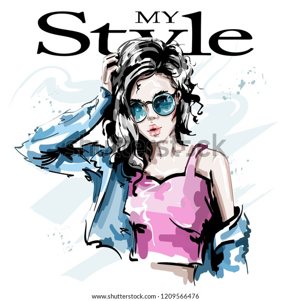 Hand drawn beautiful young woman in sunglasses. Stylish elegant girl in jeans jacket. Fashion woman portrait. Sketch.