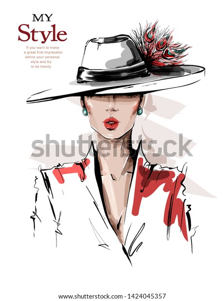 Hand drawn beautiful young woman in hat with feathers. Stylish elegant girl. Fashion woman look. Sketch. Vector illustration.