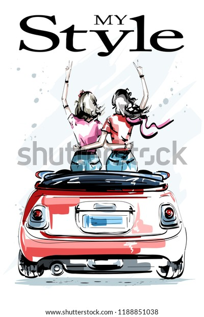 Hand drawn beautiful young women in red car. Stylish elegant girls. Two girls embracing each other. Fashion women look. Sketch.