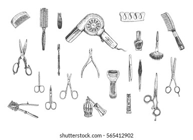 Hand drawn beauty, hairdressers and care manicure and pedicure tools professional tools set. Vector vintage collection. Retro Illustration in ancient engraving style