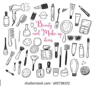 Hand drawn beauty, make up, cosmetic doodles, isolated vector illustrations on a white background.