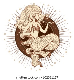 Hand drawn beauty mermaid with long hair and stars. Fantasy mythology print with starburst for T-shirt and bags. Vector illustration