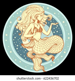 Hand drawn beauty mermaid with long hair and stars. Fantasy mythology print for T-shirt and bags. Vector illustration