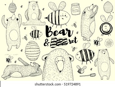 Hand drawn Bee an Bear set. Natural colors. Illustration.