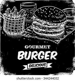 Hand drawn of beef burger and chips