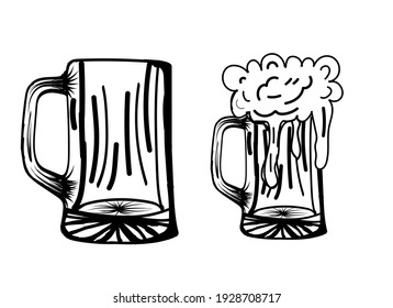 Hand drawn beer glass- Mug design element isolated on white background. Beer Glass Icon. Hand drawn Mug design element for label and poster