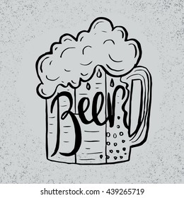 Hand drawn beer in glass mug with text on grunge background. Retro greeting card.Vector illustration