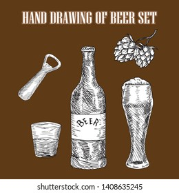 Hand drawn of beer set
