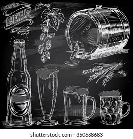 hand drawn beer set on chalkboard