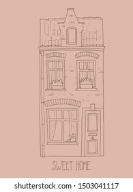 Hand drawn belgian house with hand lettering - Sweet home