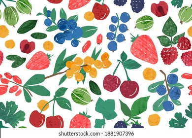 Hand drawn berry branches seamless pattern. Colorful background with fresh ripe berries. Natural juicy edible plants wallpaper template. Vector textured illustration in flat style