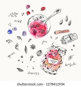 Hand drawn berry jam jar and spices, saucer. Clove, cinnamon, nutmeg, cardamon, star anise, mint, thyme, peppercorn. Summer ink and watercolor stain illustration.
