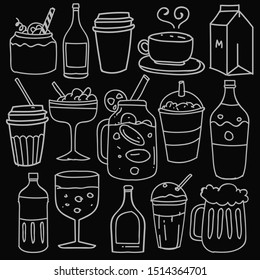 Hand drawn of beverages in doodle style isolated on black background, Vector hand drawn set beverages theme. Vector illustration