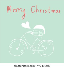 hand drawn bicycle ,gift and santa hat with heart  Merry christmas Greeting card vector