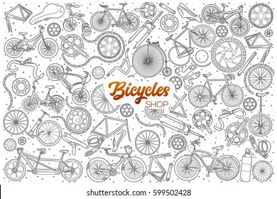 Hand drawn bicycles shop doodle set background with orange lettering in vector