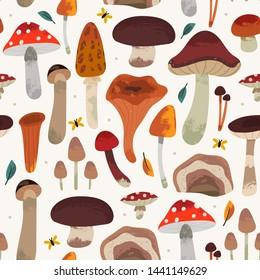 Hand drawn big vector set of mushrooms: shiitake, truffle, chanterelle, champignon, enokitake, honey fly agaric, oyster mushroom. Colored trendy illustration. Stamp texture. Seamless pattern