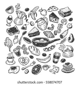Hand drawn big vector set with breakfast and morning elements. Vector breakfast food, meal and drinks. Eggs, bacon, coffee, sweets.