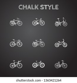 Hand drawn bike sketches set. Collection of folding cycle, postman, road velocity and other sketch elements.