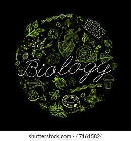 Hand drawn biology neon green pattern with white lettering on a black background in a shape of circle. Editable vector illustration. Scientific typography. I love biology concept