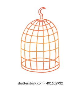 Hand drawn bird cage on a white background