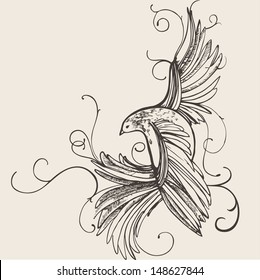 Hand drawn bird illustration. Vector isolated
