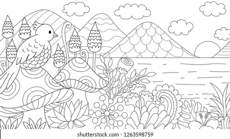 Hand drawn of bird sitting on the mushroom viewing the beautiful of nature. For coloring book, coloring page, colour picture. Vector illustration