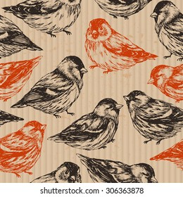 Hand drawn birds cardboard seamless pattern. Vector illustration