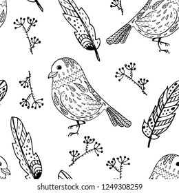 Hand drawn birds and feathers vector seamless pattern. Textile and wrapping surface design template. Print for home textile.