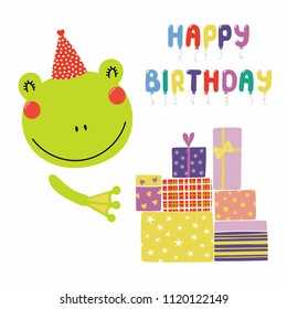 Hand drawn birthday card with cute funny frog in a party hat, presents, balloons quote Happy birthday. Isolated objects. Scandinavian style flat design. Vector illustration. Concept for kids print.
