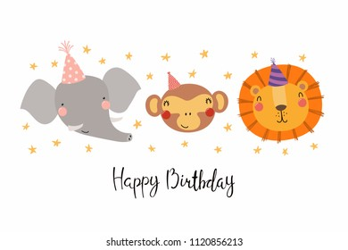 Hand drawn birthday card with cute funny monkey, lion, elephant in party hats, stars, quote Happy birthday. Isolated objects. Scandinavian style flat design. Vector illustration. Concept kids print.