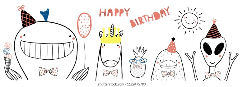 Hand drawn birthday card with cute funny whale, unicorn, pineapple, platypus, alien in party hats, lettering Happy birthday. Isolated objects. Line drawing. Vector illustration. Design concept kids