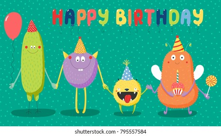 Hand drawn birthday card with cute funny monsters in party hats, smiling and holding hands, with typography. Vector illustration. Isolated objects. Design concept for children, birthday celebration.