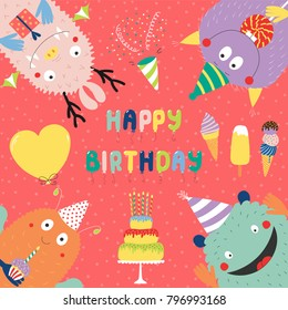 Hand drawn birthday card with cute funny monsters in party hats, looking from all sides, with cake, typography. Vector illustration. Isolated objects. Design concept for children, birthday celebration