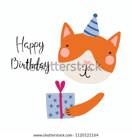 Hand Drawn Birthday Card With Cute Funny Cat In A Party Hat Present Quote