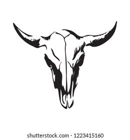 Hand drawn bison skull. Buffalo cranium vector illustration. Black isolated on white background.