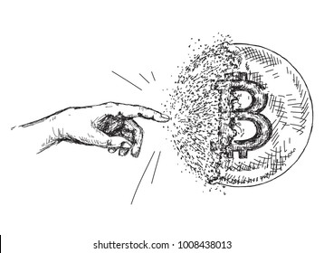 Hand drawn bitcoin sign like bursting soap bubble. Cryptocurrency sketch.  Virtual currency doodle illustration.