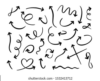Hand drawn black arrows. Curved scribble arrow, sketch pointer line and doodle vector set. Round, twisted navigation symbol. Direction arrowhead, motion index linear icons pack on white background