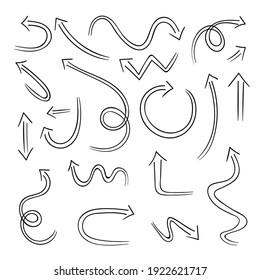 Flèches noires dessinées à la main isolées sur fond blanc. Image vectorielle ensemble d'éléments de création d'illustration.