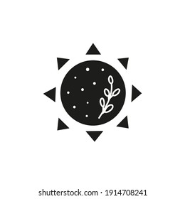 Hand drawn black celestial bohemian sun with leafy branch isolated on white background. Moon child illustration. Boho chic silhouette.