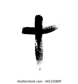 Hand drawn black christian cross signs. Religion. Hand drawn black grunge cross icon. Hand-painted cross symbol created with real ink brush isolated on white background. Grunge.