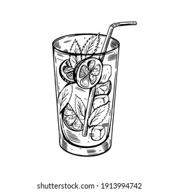 Hand drawn black color Mojito cocktail. Realistic retro style vector illustration. Isolated on white background.
