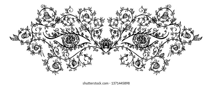 Hand drawn black eye mask with tracery, flowers and leaves on white background