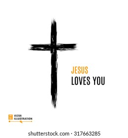 Hand drawn black grunge cross icon with text Jesus Loves you. Christian cross sign, hand-painted cross symbol created with real ink brush isolated on white background.