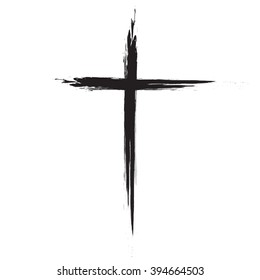 Hand drawn black grunge cross icon, simple Christian cross sign, hand-painted cross