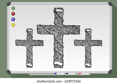 Hand drawn black grunge cross icon, simple Christian cross sign on whiteboard. Vector stock illustration