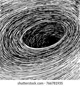 Hand drawn black hole. Sketch of swirl.