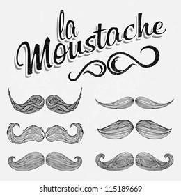 Hand Drawn Black Mustache Set