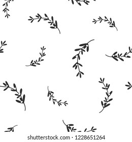 hand drawn black omela mistletoe on white background. seamless winter pattern. Christmas vector ornament. holiday ilex. Perfect for printing on fabric or paper.