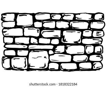 Hand drawn black outline vector horizontal drawing. An old, ancient wall of stone blocks. Historical buildings, ruins, architectural monuments, fortress.
