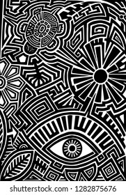Hand drawn black tattoo pattern in maori style with turtle, sun, eye, leaf and flower on white background
